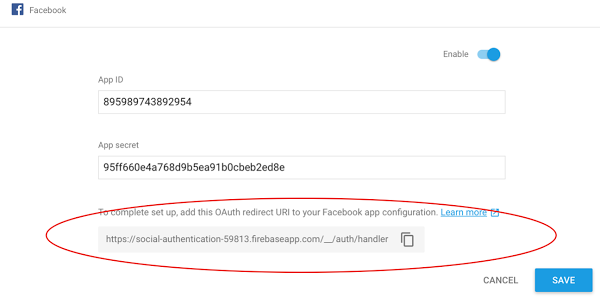 Firebase Social Authentication. Enable Facebook Sign in.