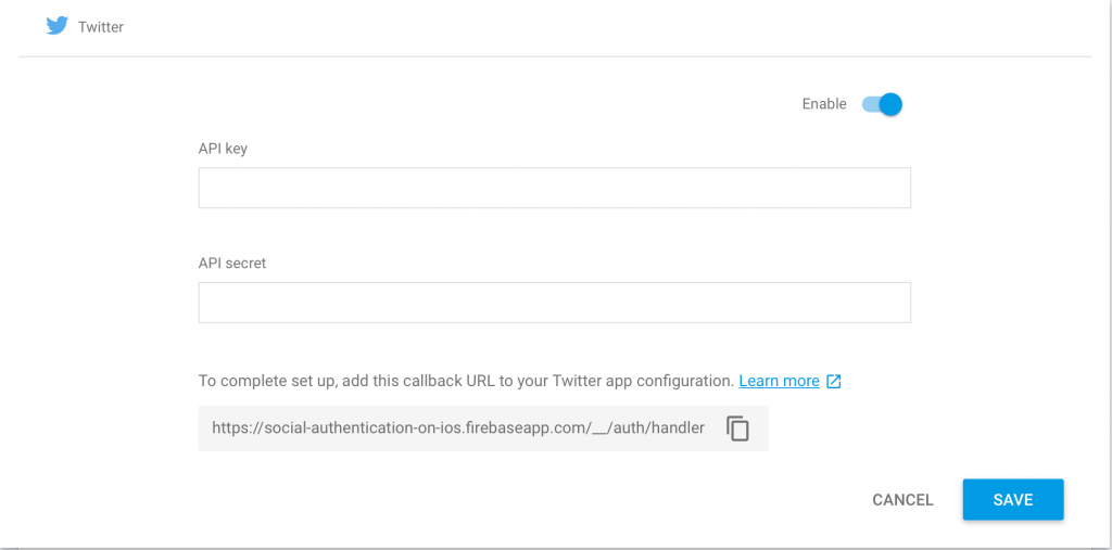 Firebase Social Authentication  Sign In with Twitter Account in